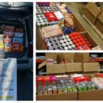 Three pictures in a collage of cardboard boxes filled with canned goods and the back of a van filled with boxes of food.