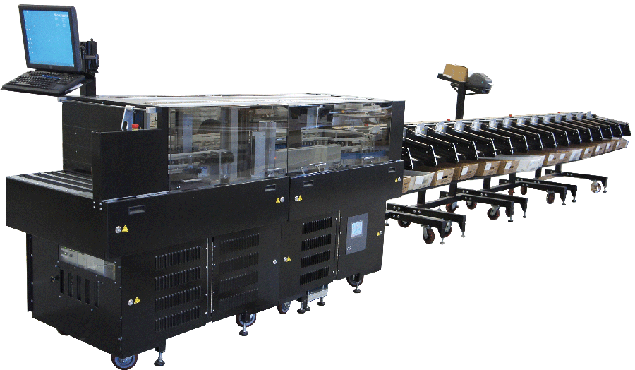 Full view of the EZ-Letters machine with sorting stackers attached.